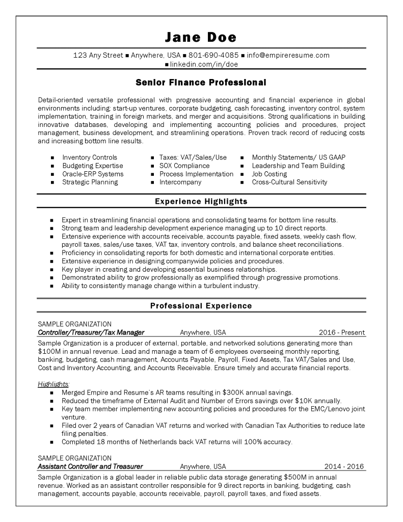 Professional Resume Examples Salt Lake City | Empire Resume